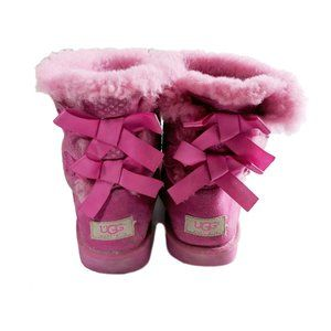 Ugg Boots Hot Pink Bailey Bow Suede  Girl's